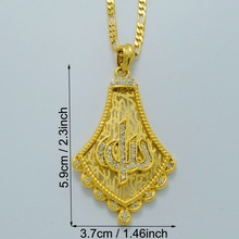 Prophet Allah Necklaces for Women's/Men's Gold Color Islam Pendant Necklace Stone,Middle East Jewelry Arab Gift #001919