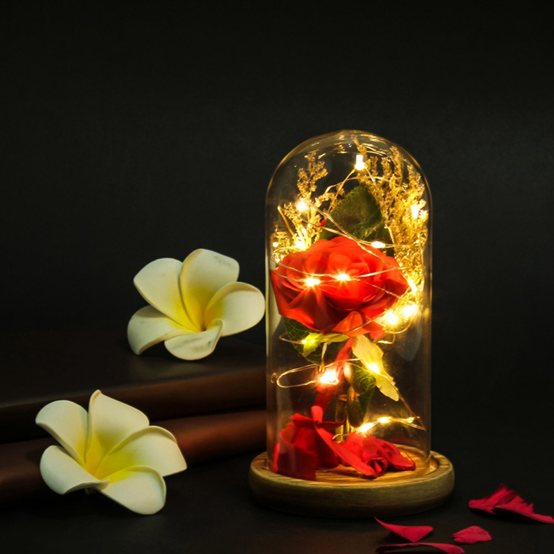 Artificial & Dried Flowers Beauty And The Beast Red Rose In A Glass Dome On A Wooden Base Rose Lamp For Valentines Gifts 2 Rose Ample Supply And Prompt Delivery Artificial Decorations