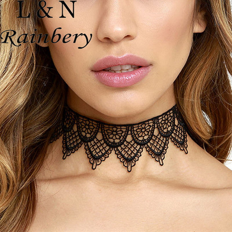Rainbery New Fashion Jewelry Cool Cloth Hollow Lace Tattoo Choker Necklace Many Design Gift For Women Girl