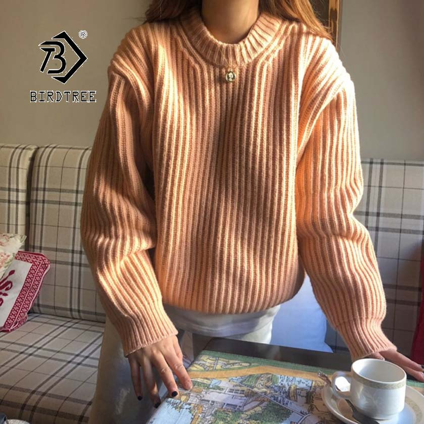 2019 Chic Autumn Winter New Women's Pullovers Sweater O-neck Simple Solid Loose Thick Korean Casual Fashion Tops T97210D
