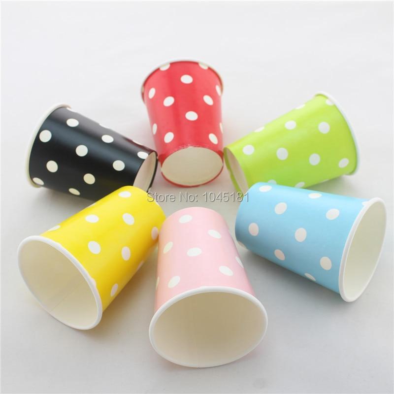 ipalmay New Design!!! <font><b>9</b></font> oz <font><b>Pink</b></font> Polka dot <font><b>Paper</b></font> <font><b>Cups</b></font> 6 Colors Party Supplies <font><b>Paper</b></font> Drinking <font><b>Cups</b></font>