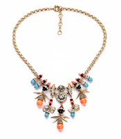 Women Fashion Jewelry 2014 Resdin Zinc Alloy Gold Plated Classic Colorful Beads Glass Stone Necklace Pendant