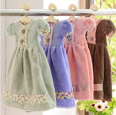 Free Shipping! Korean Style Lovely Skirt Superabsorbent Hand Dry Towel Lovely Hanging Dress Towel Hand towel For Home Gift