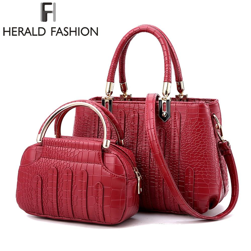 Herald Fasion Women Bag Composite Bag Brand Tote Ladies Evening Handbag Shoulder Bags Solid Pu Leather Messenger Bags Sac