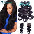 Malaysian Human Hair weaves with  lace closure 4 bundles Malaysian body wave with1 closure black  unbleached knot