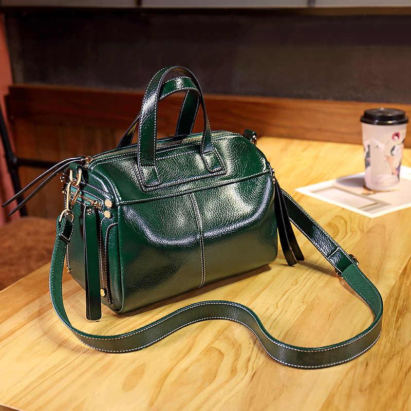 Genuine Leather Shoulder Bags Bag Fashion Shoulder Bag Boston Patchwork High Quality Female Messenger Crossbody Ladies 2019 T48