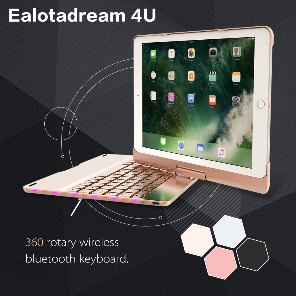 For ipad air 2 case 360 Degree Rotation with keyboard wireless bluetooth keyboard LED Backlit for Ipad 6 yd k356 bluetooth v3 0 78 key keyboard 360 degree rotational abs case for ipad 2 3 4 white