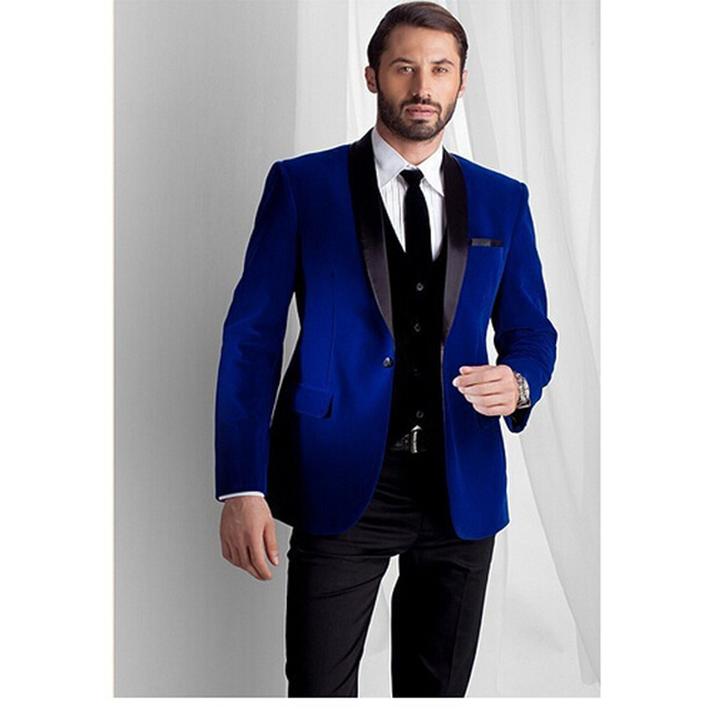 2017 New Fashion Royal Blue Velvet Jacket Groom Tuxedos Black Lapel ...