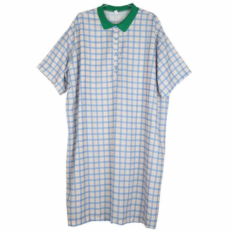 Tvvovvinin женское платье клетчатое платье свободного кроя, летнее Повседневное платье, большие размеры, длинные платья для женщин, новинка 2019, V177