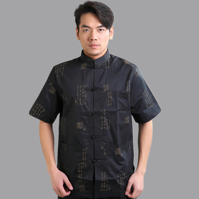 Hot Sale Black Traditional Chinese style Mens Cotton Kung Fu Shirt Summer Hombres Camisa Clothing Size S M L XL XXL XXXL Mny-02C