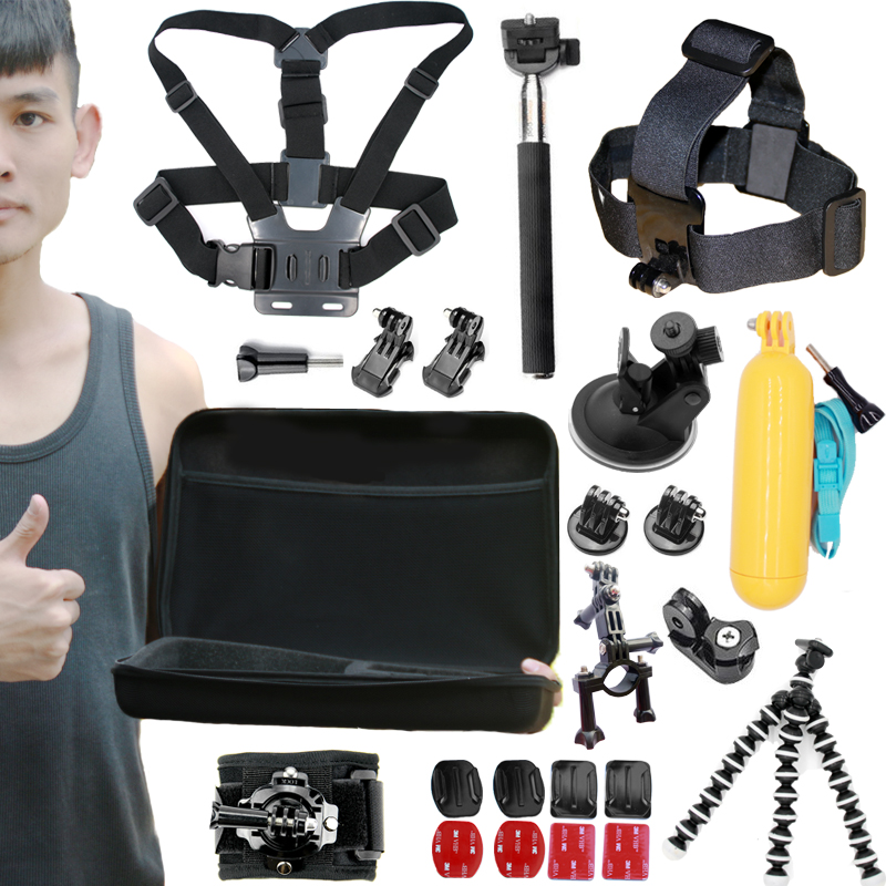 A9 For Gopro accessories set go pro kit mount SJCAM go pro Xiaomi Yi for Sony Act Cam HDR AS200V AS100V AZ1 mini FDR-X1000V/W 4k zs s3 hi quality curved surface mount pack with 3m sticker adhesive for sony fdr x1000v hdr as200v hdr as20 hdr az1vra