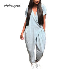 hot deal buy helisopus women's casual v neck jumpsuits hip hop loose romper fashion streetwear women clothing black grey blue jumpsuits