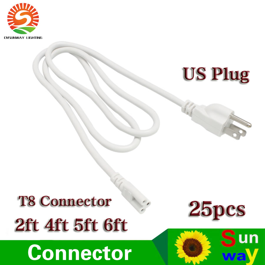 <font><b>T8</b></font> T5 Connector 3 Wires 2ft 3ft 4ft 5ft 6ft Power Cords With US <font><b>Plug</b></font> For Integrated Led Tube Lights 25pcs image