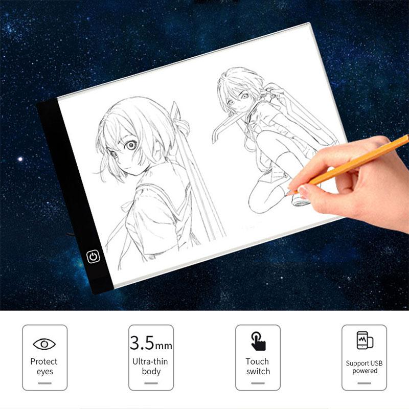 amzdeal Ultra-thin LED Drawing Pad Electronic Adjustable Optical Writing Tablet Dimmable Comic Copy Tablet Board Blank Canvas