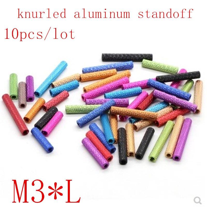 10pcs M3*10/15/20/25/30/35/40 colourful knurled aluminum standoff spacer Stud Fastener for RC Multirotors10pcs M3*10/15/20/25/30/35/40 colourful knurled aluminum standoff spacer Stud Fastener for RC Multirotors