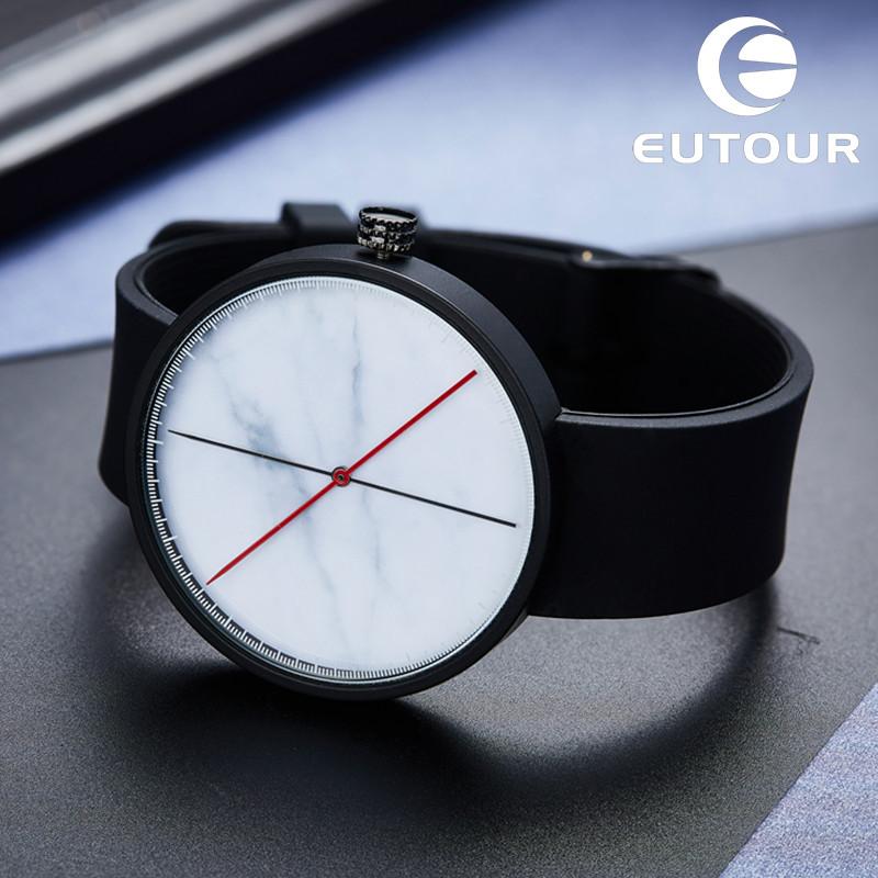 Prix pour Eutour Hommes de Cru Rétro En Caoutchouc Quartz Montre Minimaliste Hommes Blanc Marbre Montres Horloge Montres Populaire Mode Pop Garçon