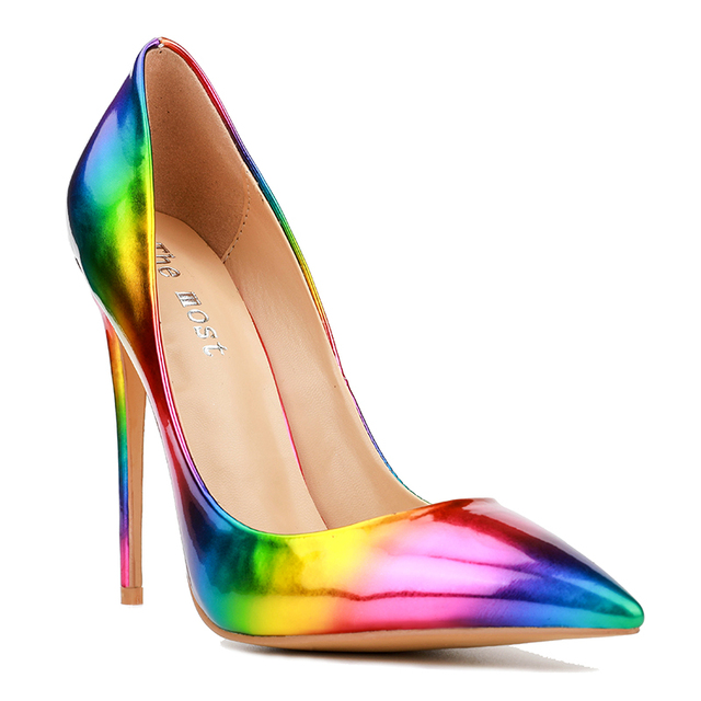 938c45bb5c33 Themost Womens Fashion Slip on Dress Pumps Colorful Rainbow Print Pointy  Toe Pencil High Heel Shoes Big sizeRainbow pointed high