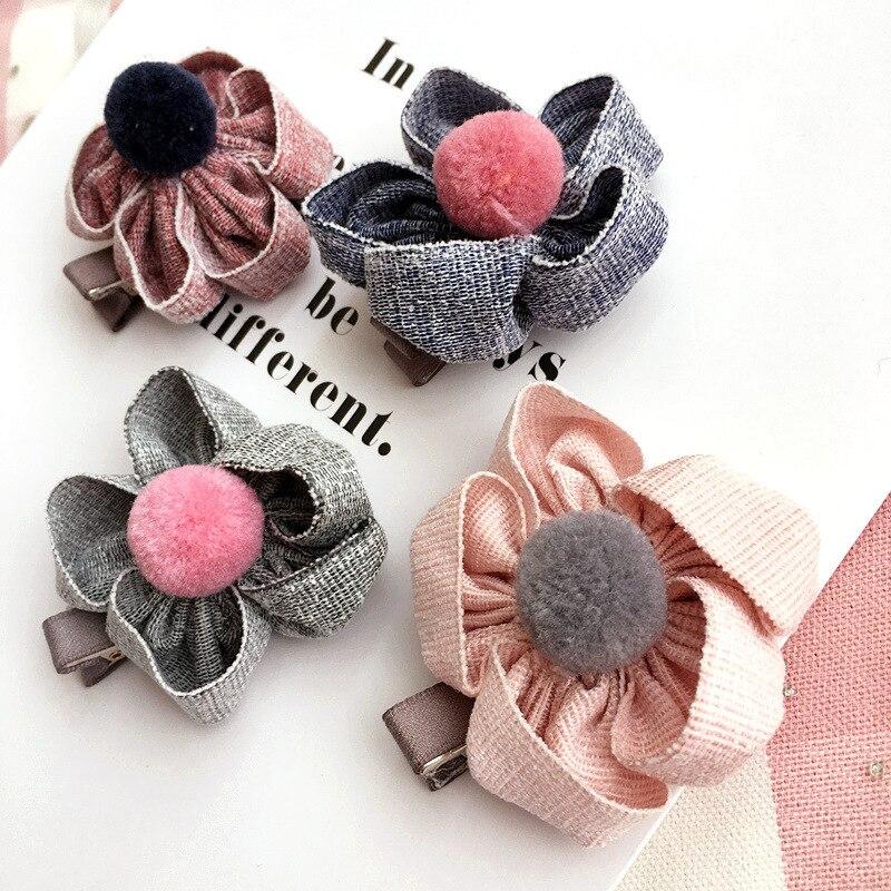 Korea Hairpin Cartoon Flowers Hair Clips for Girls Colorful Hairball Hair Bows Barrettes Hair accessories