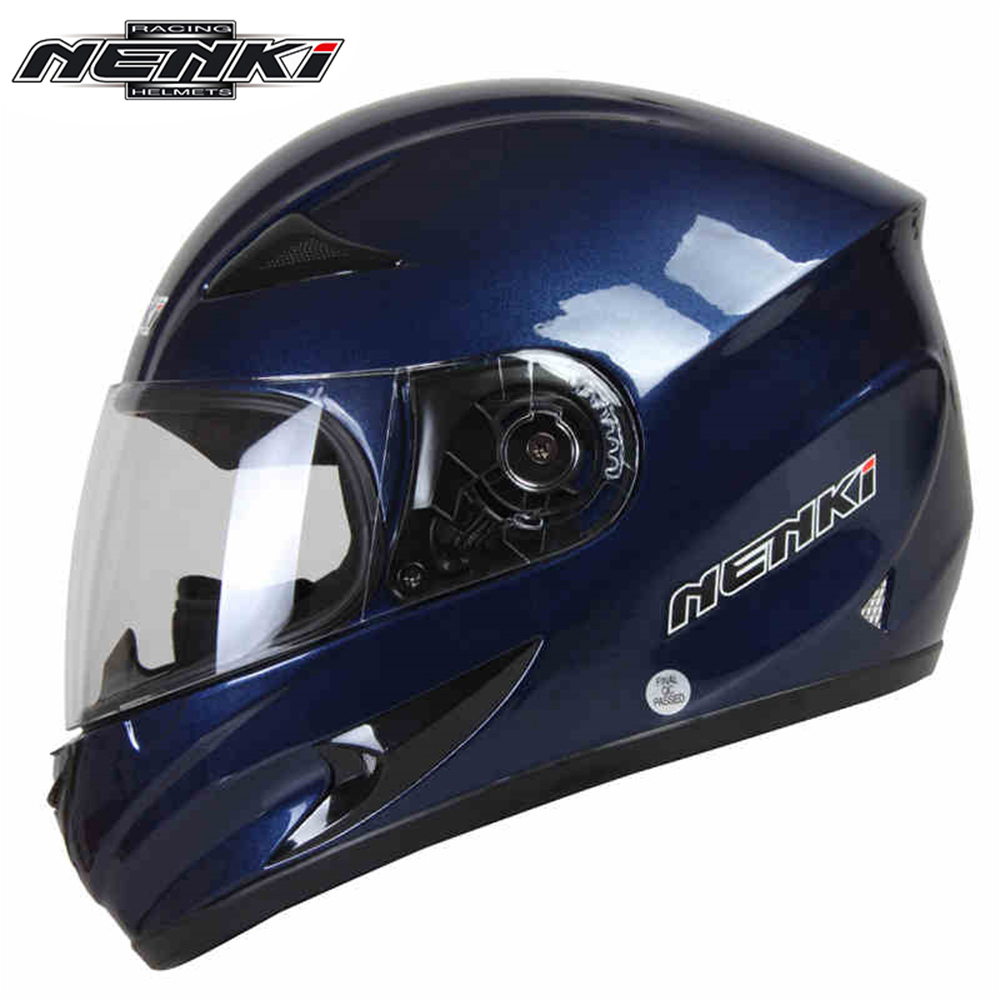 ФОТО NENKI Helmet motorcycle cool blue Full Face Riding Helmet Motorcycle Full Face Riding Helmet for Men and Women