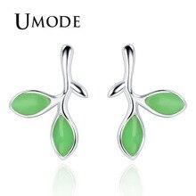 UMODE Cute Burgeon Shape Stud Earrings for Women New 2018 Fashion Jewelry Green Stone Little Leaves Trendy Gift AUE0422
