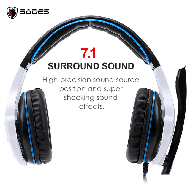 SADES SA-903 High-Performance 7.1 USB PC Headset Deep Bass Gaming Headphones With LED Micphone For Games Player 3