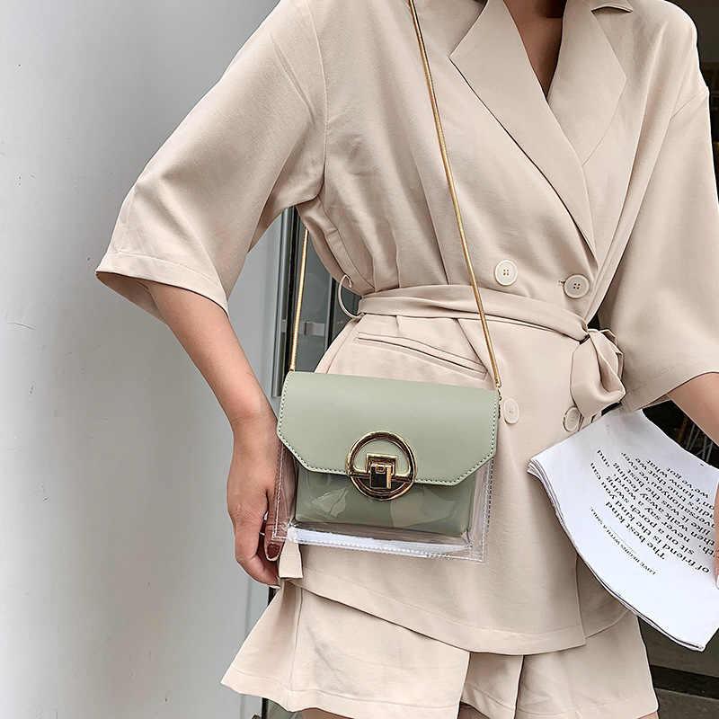 Mulheres Marca Designer Flap Claro Bolsa de Ombro Crossbody Bag Lady Novo 2019 Verão Rodada Bloqueio Cadeia Geléia Transparente Saco saco Do Mensageiro