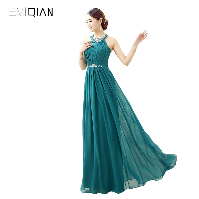 A-line Halter Chiffon Evening Dresses
