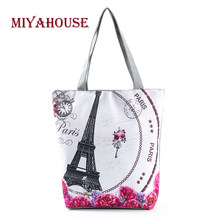 4e8684604350 MIyahouse Summer Style Floral And Eiffel Tower Printed Beach Bag For Female  Large Capacity Women Shopping