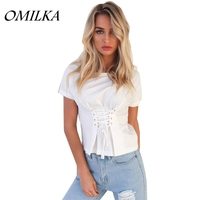 OMILKA 2017 Hot Summer Women Short Sleeve O Neck Bandage T Shirt Sexy Black Blue White