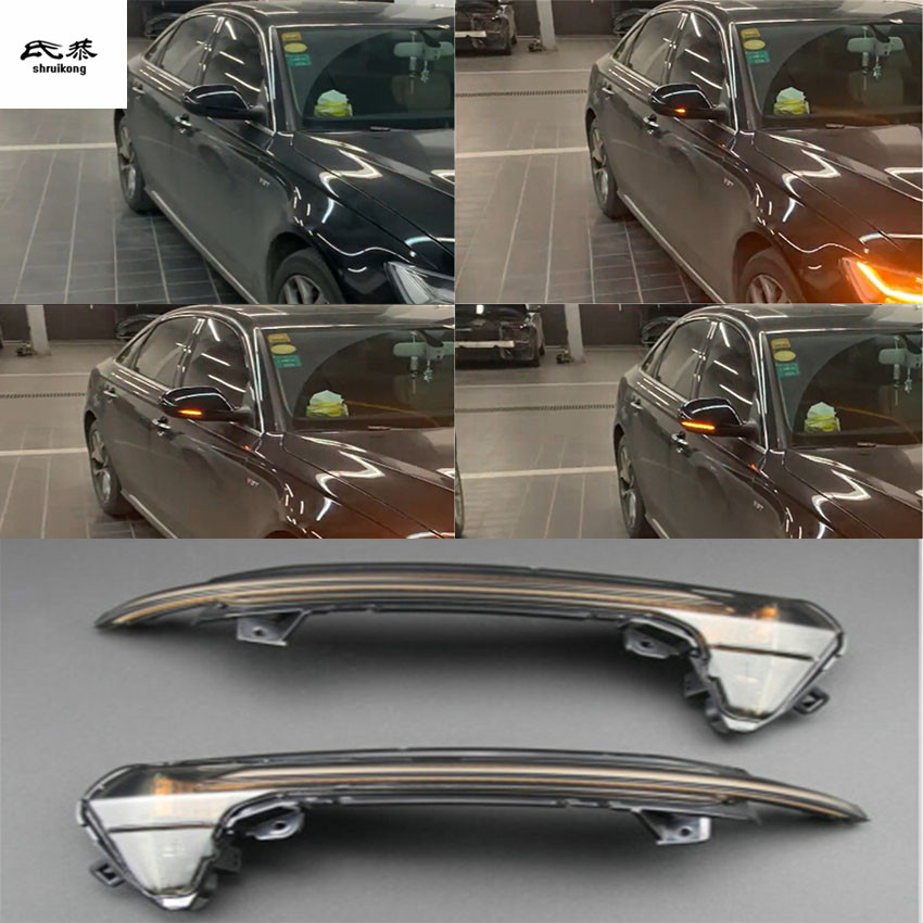 Free Shipping 2pcs/lot Dynamic Running Water Blinker Indicator Rearview Mirror Turn Light For 2012-2017 AUDI A6 C7