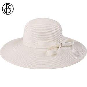 Image 3 - FS לבן קש כובעי נשים 2020 כובעי שמש קיץ גדול רחב שולי גבירותיי הכנסייה גדול חוף כובע פדורה Chapeau paille