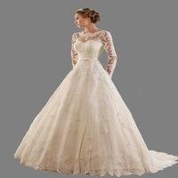 2018 Elegance Vintage Lace Wedding Dresses Long Sleeve Appliques Backless A Line Vestidos De Novia Robe