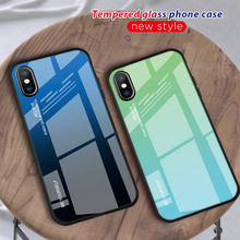 Tempered Glass Phone Case For iPhone XS XR 7 8 X 6 6S Plus Gradient Color Blue Ray Aurora Skin Back Cover For iPhone XS Max XS girly case for iphone xr x xs max cover korean aurora gradient color dot skin bag cases for iphone 7 8 plus 6s case long chain