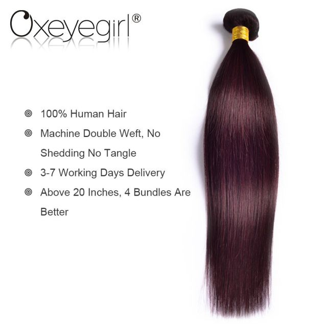 Oxeye Girl Burgundy Brazilian Hair Weave Bundles 99j Red Straight
