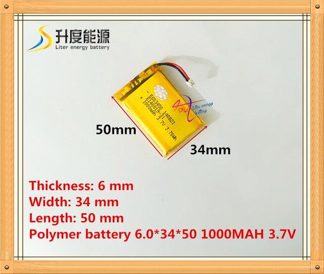 XH1.5 Li-polymère MODÈLE 603450 063450 1000 mah 3.7 V lithium polymère batterie MP3 MP4 GPS Le connecteur
