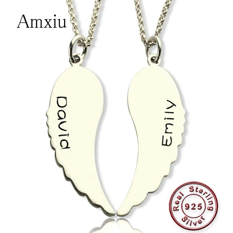 Amxiu 2 pièces Angle aile collier gravé deux noms colliers personnalisé 925 argent bijoux pendentif collier pour amoureux cadeau
