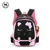SCIONE Brand 2017 Girls School Bags Children Backpack Orthopedic Princess Schoolbags Primary Bookbag Mochila Infantil Sac