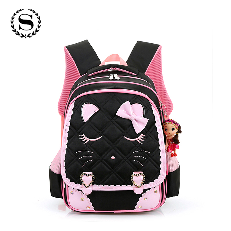 SCIONE Brand 2017 Girls School Bags Children Backpack Orthopedic Princess Schoolbags Primary Bookbag Mochila Infantil sac a dos 2017 brand delune new girl school bags 3d cute bear flower waterproof orthopedic backpack schoolbag primary mochila infantil