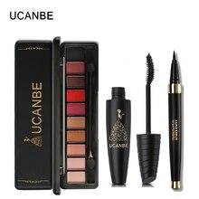 UCANBE Brand 3pcs Value Eye Makeup Set 10 Colors Nude Eyeshadow Palette With Brush Black Liquid Eyeliner Mascara Cosmetics Kit