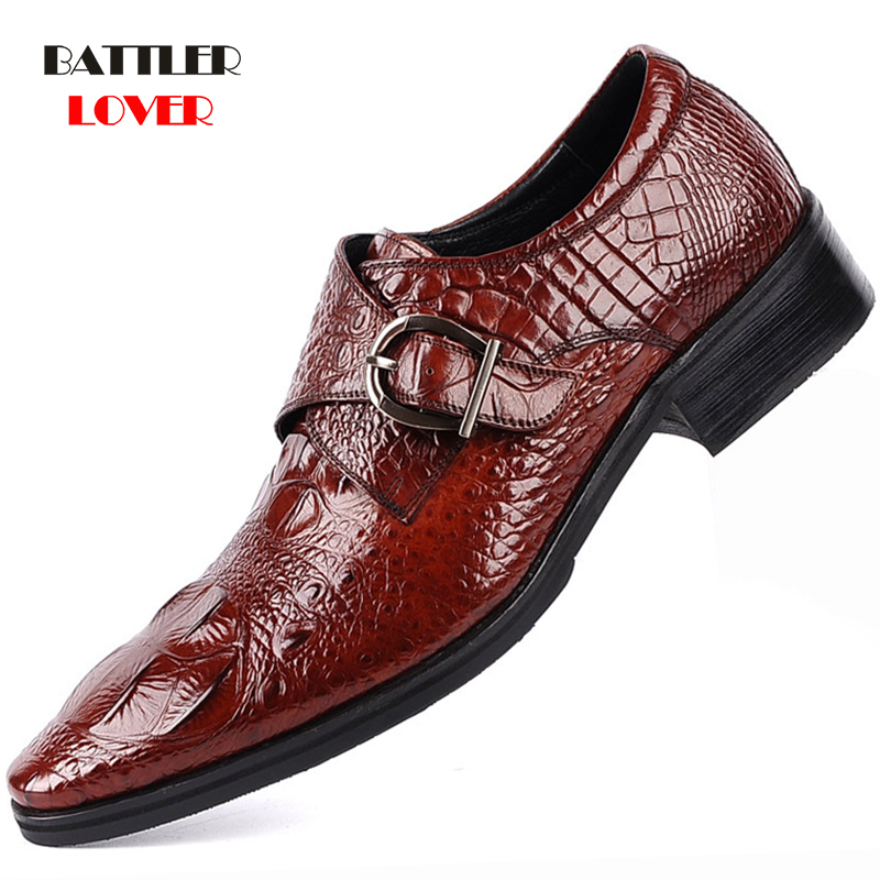 British Style Men's Genuine Leather Crocodile Shoes Mens Classic Business Casual Derby Shoes Handmade Dress Flats Shoes Oxfords