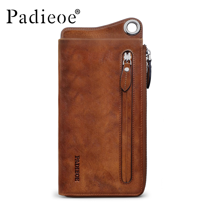 Padieoe men Fashion Genuine Leather Wallet Casual Female Purse Women Wallet Clutches Zipper Card Holder Long Lady Coin Wallet bemoreal genuine leather women wallets lady clutches card holder female zipper wallet fashion brand coin keeper sweet long purse