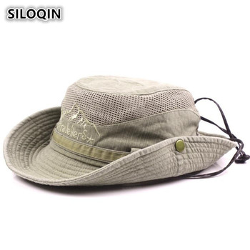 SILOQIN Men's Cap Summer 100% Cotton Retro Mesh Breathable Bucket Hats Western 2019 New Style Wind Rope Fixed Dad's Beach Hat siloqin elegant women s 100