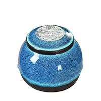 Blue Gradient Glaze Ceramic Funeral Pet Urn for Memorials Holds Up to 30 Cubic Inches of Ashes Pet Cremation Urn for Ashes