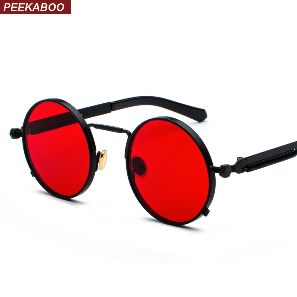 Peekaboo rojo claro gafas de sol hombres steampunk 2019 metal marco retro vintage redondo gafas de sol para las mujeres negro uv400