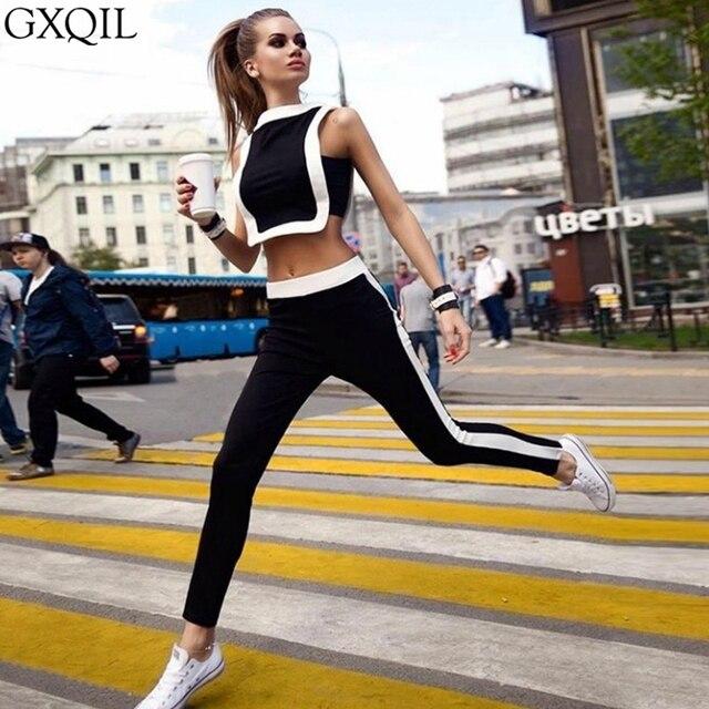 GXQIL Femmes Sportswear Survêtement Femme Fitness Gym Ensemble De Yoga  Costume Féminin Costume Sport T- d61e6c78113
