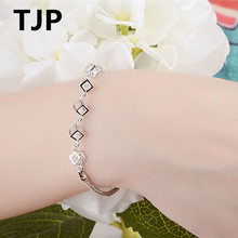 TJP Simple Heart Fashion Girl Party Accessories Popular 925 Sterling Silver Women Bangle Jewelry Wedding  Engagement
