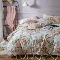 Svetanya Pembe Çiçekler Baskı Yatak Takımları % 100% Pamuk Yatak Çarşafları Kraliçe yatak Örtüsü düz levha yastık kılıfı