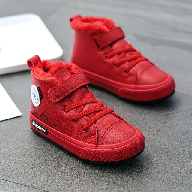 ילדי חורף נעלי ילדים קטנים קרסול מגפי קטיפה חם סניקרס אופנה בנות מרטין מגפי עור עמיד למים אדום ילדים מגפיים