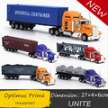 Envío libre transformación 1: 65 optimus prime coche de aleación de camiones camión de américa plana de transporte de coches modelo de simulación de regalo de navidad