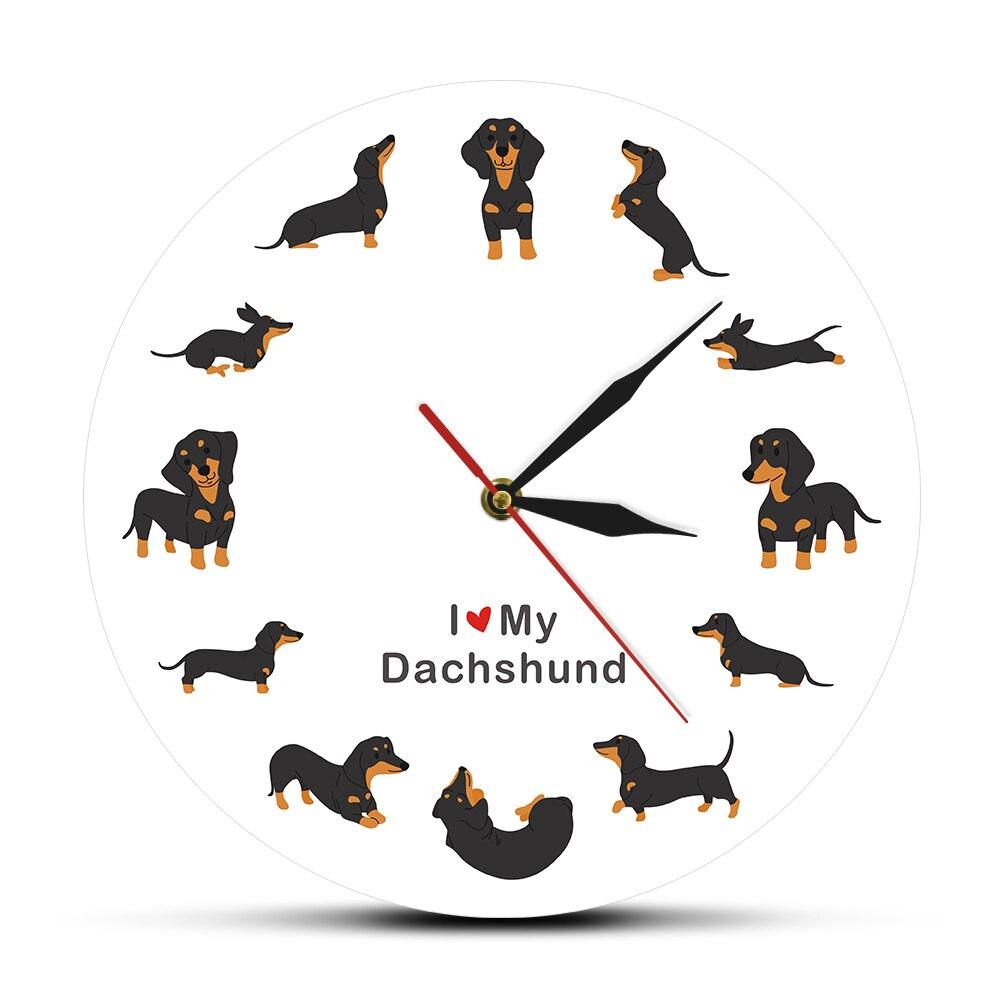Cute Doxie Cartoon Style Dachshund Wall Clock Dog Breed Timepiece Sausage Dog Modern Wall Watch With Saying I Love Dachshund